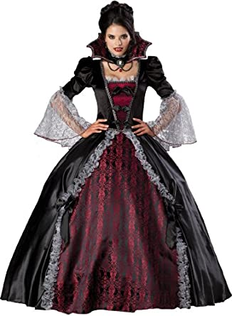 InCharacter Costumes, LLC Vampiress Of Versailles Adult Full Length Ball Gown, Black/Burgundy, Small