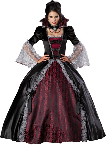 InCharacter Costumes, LLC Vampiress Of Versailles Adult Full Length Ball Gown, Black/Burgundy, X-Large