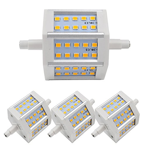 4X Led Bulb 6W Warm White R7S Dimmable Light 3000-3500K Smd 2835 Low Consumption 360Lm Ac 85-265 V