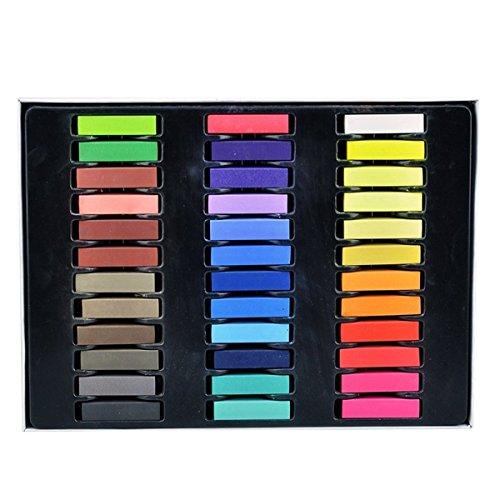 Tinksky 36 bricolage peinture non-toxique temporaire des cheveux Pastel couleur colorant craies de couleurs