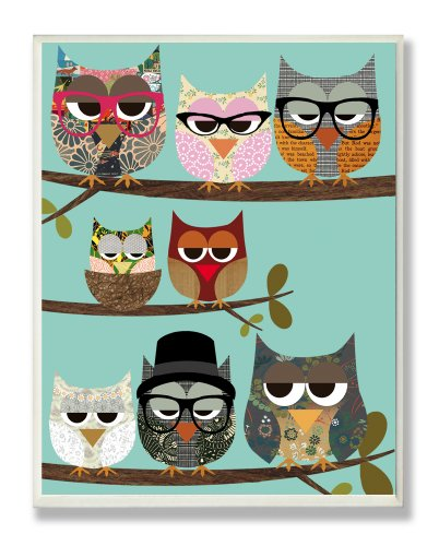 The Kids Room by Stupell Professional Owls on a Branch Rectangle Wall Plaque