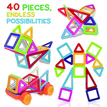 Tomi Toys Magnetic Building Blocks - 40 Piece building Set - Deluxe Magnet Tiles - Great for Construction and Stacking - Boosts Kids' Creativity and imagination - 6 Colors - Multiple Shapes