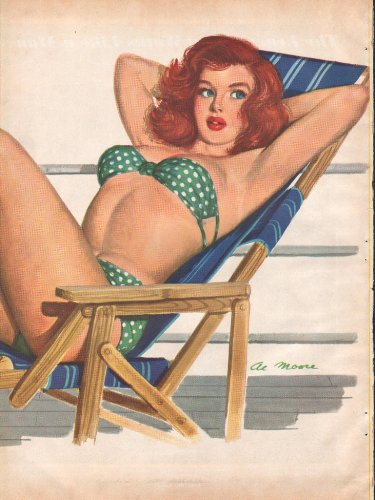 1950 Pin Up Sexy Girl in Green Bathing Suit Lounging on an Ocean Cruise