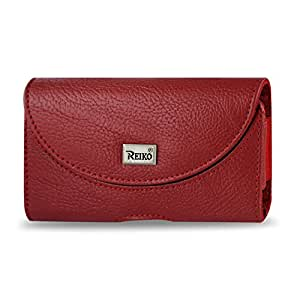 Reiko Horizontal Pouch HP146 for HTC HD2 T8585 Plus - Retail Packaging - Red