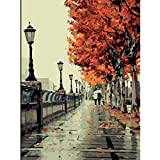 Fall Paint by Number Adult Kids Children, DIY Canvas Oil Painting Landscape Wall Art Paintwork for Home Living Room Office Picture Decorations Romantic Love Autumn 16 x 20 Inch Frameless