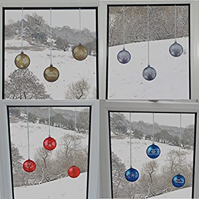 Bauble Glitter Window Clings with Patterns and Strings