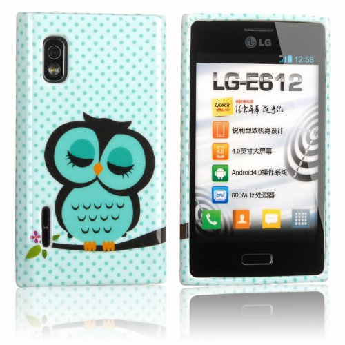 tinxi® Schutzhülle für LG Optimus L5 E610 Hülle TPU Silikon Rückschale Schutz Hülle Silicon Case mit Eule Owl Muster in Hellgrün