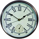 Weathereye WEA4 Plated Outdoor Clock/ Thermometer - Bronze