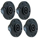 GLS Audio Speaker Jack Twist Lock 4 Pole Round - Compatible with Neutrik Speakon NL4MP, NL4MPR, NL4FC, NL4FX, NLT4X, NL4 Series, NL2FC, NL2, Speak-On - 4 PACK