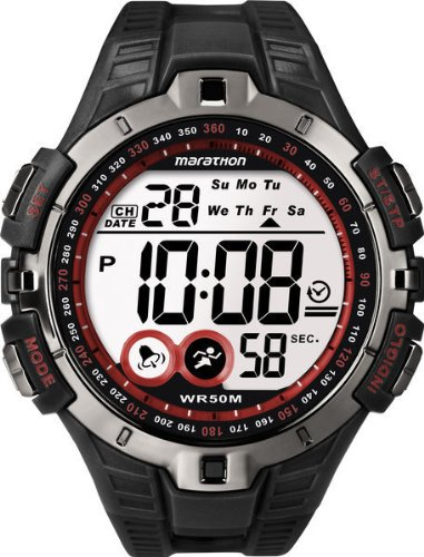 Timex Sport Marathon Fullsize Quartz Watch with LCD Dial Digital Display and Black Resin Strap T5K4234E