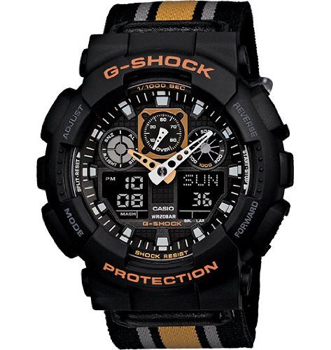 G-SHOCK Men's GA 100MC Cloth Band Watch One Size Black