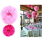 Ohuhu® [5-pack] Crafts Pom Poms/ Tissue Paper Flowers