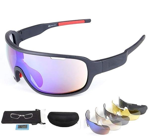 Rungear Polarized Sports Sunglasses UV400 with 5 Interchangeable Lenes for Men Women Cycling Running Driving Fishing Golf Baseball Glasses (Black) (Color: Black)