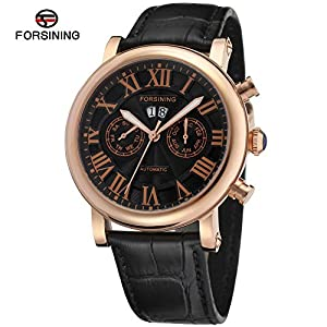 Forsining Roma Leather Band Luxury Men's Mechanical Wrist Watch 1205173