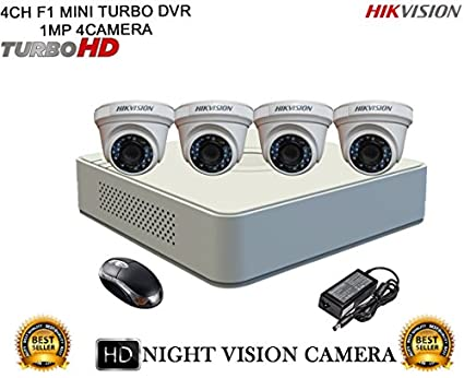 Hikvision DS-7104HGHI-F1 Mini 4CH Dvr, 4(DS-2CE56COT-IRP) Dome Cameras (With Mouse)