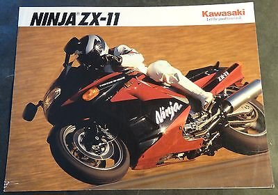 1991 KAWASAKI MOTORCYCLE NINJA ZX-11 SALES BROCHURE 4 PAGES (721)