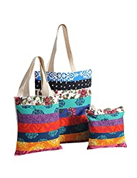 Multipurpose Shopping Bag Applique Patchwork, With Zipper Closing And Design Patches 3 Pcs Set,