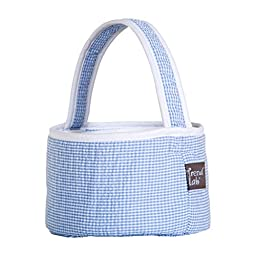 Trend Lab Blue Gingham Seersucker Collapsible Round Caddy