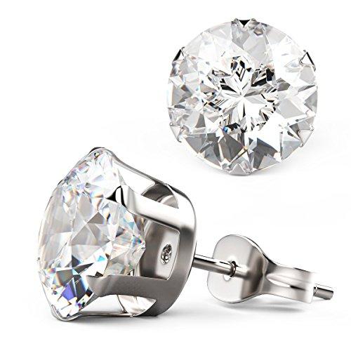 14K oro bianco placcato Diamante Solitario Orecchini placcato platino 6,0mm