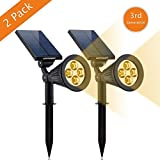 Solar Lights, URPOWER 2-in-1 Solar Powered 4 LED Adjustable Spotlight Wall Light Landscape Light Bright and Dark Sensing Auto On/Off Security Night Lights for Patio Yard Driveway Pool - Warm White (2)