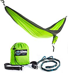 Double Parachute Camping Hammock with FREE Tree Straps by Youphoria Outdoors - Lightweight Nylon Compression Travel Hammock with Premium Wiregate Aluminum Carabiners. Green/Gray Trim