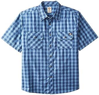 Dickies men 39 s big short sleeve buffalo plaid for Dickies short sleeve plaid shirt
