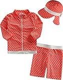 [Vaenait Baby] 2-7歳ラッシュガード水泳スイムウェアベビー 子供水着上下キャップ 3点セット Dot +Flap Cap S