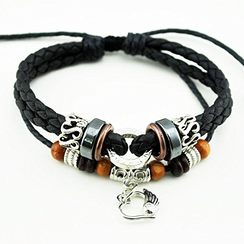 November's Chopin (TM) Heart Angel's Wing Charm Adjustable Lucky Braided Tribal Wrap Bracelet