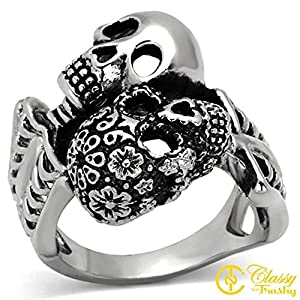 Classy Not Trashy® Men's Stainless Steel Material 'Day of the Dead' Skull Ring - Size 10