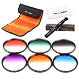 K&F Concept 67mm 6 pcs Slim Graduated Orange Blue Grey Red Purple Green Lens Accessory Filter Kit Slim Grasuate Filters for Canon 7D 700D 600D 70D 60D 650D 550D for Nikon D7100 D80 D90 D7000 D5200 D3200 D5100 D3200 D5300 DSLR Cameras + Microfiber Lens Cl