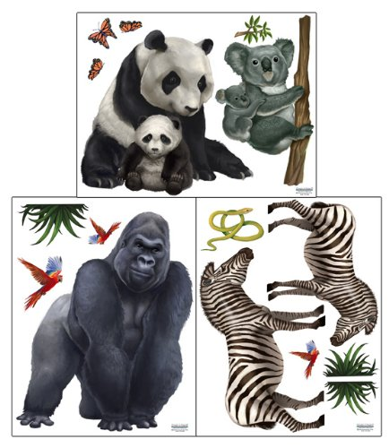 Jungle Safari Animal Wall Stickers II -Self-Adhesive Children's Room Wall Decor
