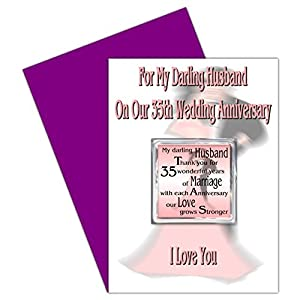 35th Wedding Anniversary Gift For Husband : Husband 35th Wedding Anniversary Card With Removable Magnet Gift35 ...