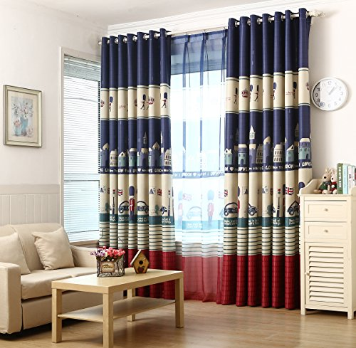 Cartoon Blackout High Quality Kids Teens Curtains (54W×84L×1, British Royal Guard) (British Window Curtains compare prices)