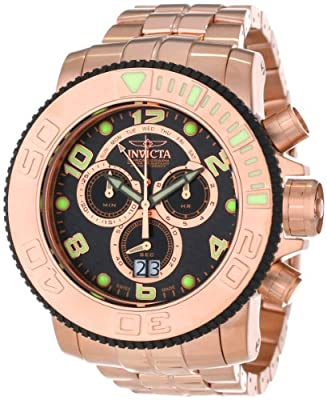 Invicta Men's 10764 Sea Hunter Chronograph Black Carbon Fiber Dial 18k Rose Gold Ion-Plated Stainless Steel Watch
