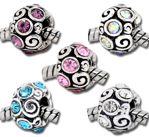Set of 5 Charm Beads, with Stones, Charm Beads for Pandora/Troll/Chamilia Style Charm Bracelet