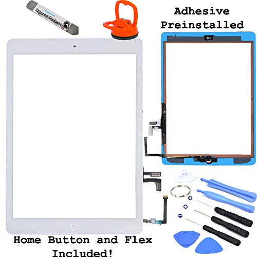 White Touch Screen Glass Digitizer Assembly With Spare Parts (Home Button, Flex Cable, Camera Bracket, Adhesive) For Ipad Air 5Th Generation
