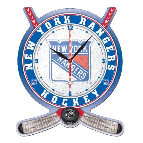 NHL New York Rangers High Definition Clock - Hockey Stick and Puck
