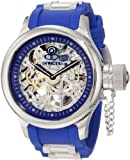 Invicta Russian Diver Men's Mechanical Watch with Silver Skeleton Dial Analogue Display and Blue PU Strap 1089