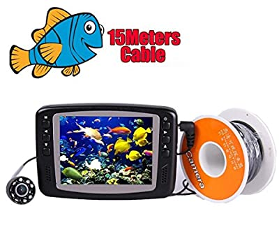"Vanxse® Underwater Fish Camera System Portable 3.5"" TFT LCD 700tvl Hd Underwater Video Camera 15m(50ft) Cable Fish Finder"