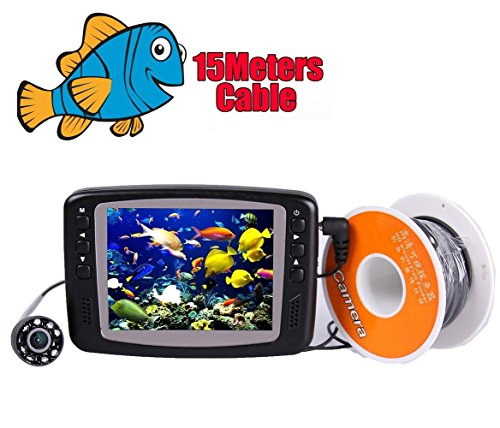 """Vanxse® Underwater Fish Camera System Portable 3.5"""" TFT LCD 700tvl Hd Underwater Video Camera 15m(50ft) Cable Fish Finder"""