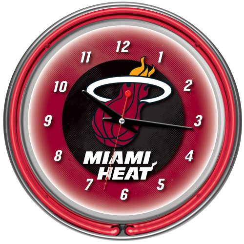Miami Heat NBA Chrome Double Ring Neon Clock, 14-Inch, Red