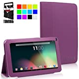 TabSuit 9'' PU Leather Folio Stand case for 9'' Dragon Touch A13, AKASO A90, SVP, ZTO, D2 Tablet [By TabletExpress] (D. Purple)