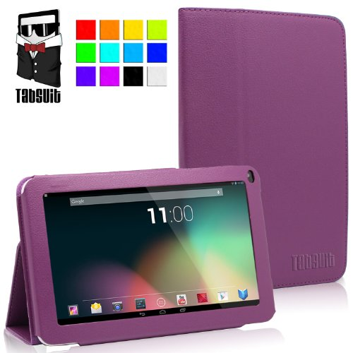 "TabSuit® 9"" PU Leather Folio Stand case for 9"" Dragon Touch A13, AKASO A90, SVP, ZTO, D2 Tablet [By TabletExpress] (Purple)"