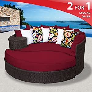 Amazon.com: Zen Outdoor Wicker Patio Daybed - Henna Spice: Patio ...