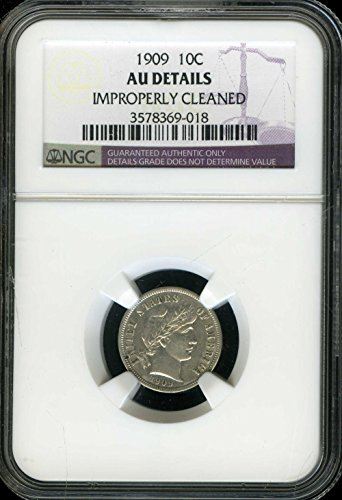 1909 No Mint Mark Liberty Head Dime NGC About Uncirculated