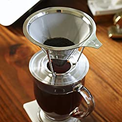 European Stainless Steel Single Cup Pour Over and Hand Drip Coffee Dripper / Filter with Stand | For Brewing Methods from STR Innovations Inc.