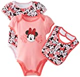Disney Baby-Girls Newborn Minnie 2 Pack Creeper Bib Layette Pink- Med Pink, Pink, 0-3 Months