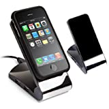 Non-Slip Cell Phone Stand (Black) with USB 2.0 4-Port Hub - Great for iPods, iPhones, Cellphones and MP3 Players