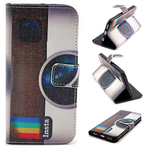 Yw (Tm) Magnetic Pu Leather Flip Card Slots Hybrid Stand Case Cover For Apple Iphone 6 4.7 Inch With One Piece Random Color Stlye Dress Up Sticker Gift - Camera