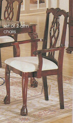 Set Of 2 Antique Queen Anne Style Cherry Finish Wood Dining Arm Chairs Toma